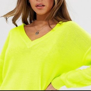 NWT Anthro v-neck lime green loose knit sweater